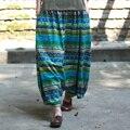 Mulheres Do Vintage Nepal Nacional Listrado Imprimir Harem Pants Cotton Linen Capris Senhoras Elástico Na Cintura Solta Plus Size Calças Harém
