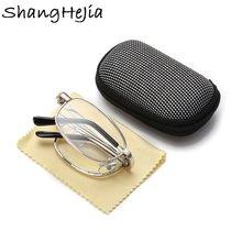 Design óculos de leitura homem mulher óculos dobrável armação de metal prata + 1.0 + 1.5 2.0 2.5 3.0 3.5 4.0 +