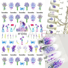 Cute 3D Nail Stickers Self Adhesive Design Lavender Princess Nail Decals Manicure Art Avocado Sticker for Nails Decoration Foil(China)