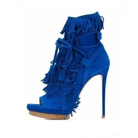 High Quality Sexy Peep Toe Platform Ankle Boots Fringed Lace Up High Gladiator Sandals High Heels Fashion Boots For Women