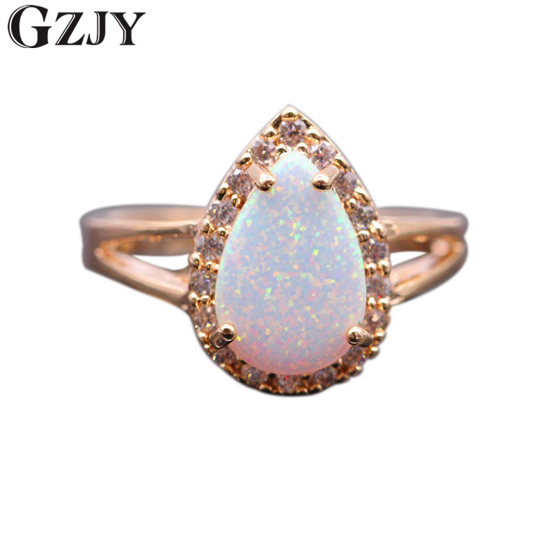 GZJY Luxury Waterdrop Engagement Party Fire Opal Ring Champagne Gold Color Zircon Rings For Women Fashion Jewelry 5colors J04-1 pair of delicate graceful solid color opal embellished waterdrop shape earrings for women