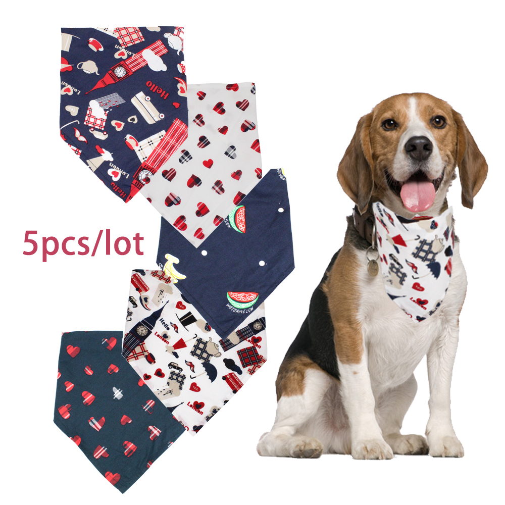 5 pcs Dog Bandana Cat Kitten Collar Pet Scarf Neckerchief Small Dog Collars Pet Tie Accessories Collar Cats Dogs Grooming