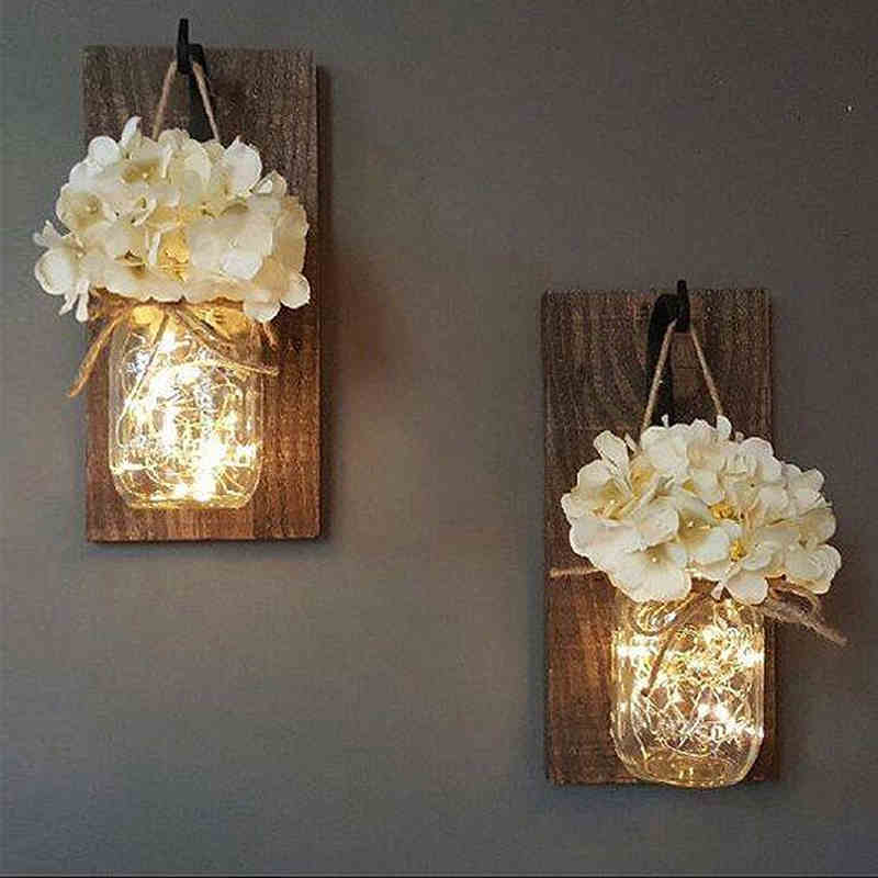 Us 3 99 Ins Rustic Mason Jar Wall Sconces With Led Fairy Lights Flowers For Country Home Wedding Cafe Bar Bedroom Decoration In Indoor