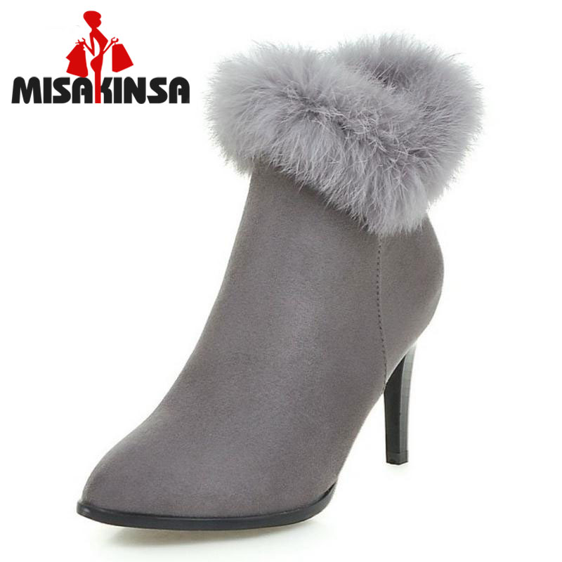 MISAKINSA Women Elegant Dress Party Shoes Thin High Heels Botas Women Fur Ankle Boots Pointed Toe Less Platform Shoes Size 34-43
