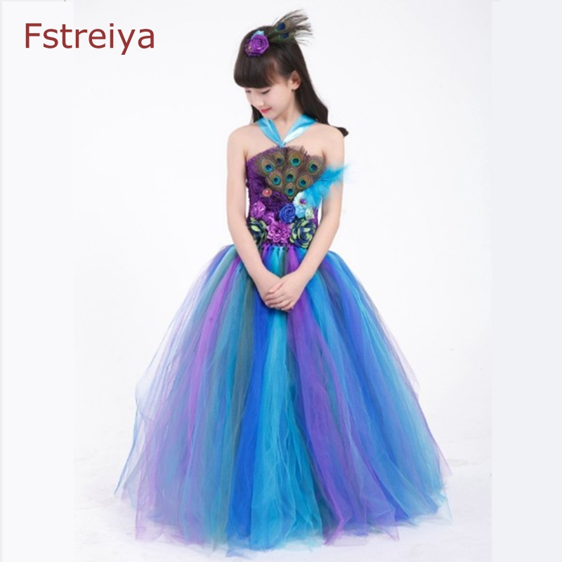 Flowers Peacock feathers baby girls party dress princess sofia cinderella elsa belle dresses girls girl princess dress clothes the flower child dress baby girls cinderella dress big girls clothing princess party dress flowers dress girls costume free ship