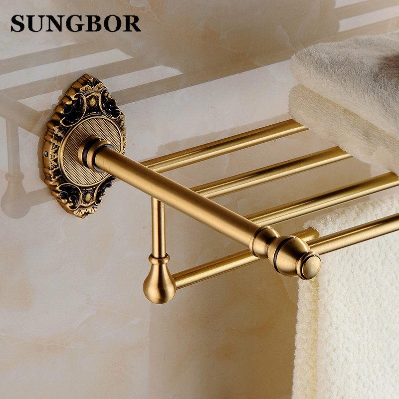 Luxury Solid Brass Bathroom Wall Mounted Bathrobes&Bath Towel Racks Classic Antique Bronze Double Bathroom Towel Shelf SH-9612F whole brass blackend antique ceramic bath towel rack bathroom towel shelf bathroom towel holder antique black double towel shelf