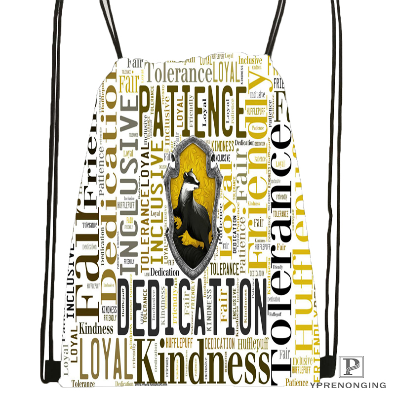 Custom Hufflepuff Logo@091 Drawstring Backpack Bag Cute Daypack Kids Satchel (Black Back) 31x40cm#180531-02-26
