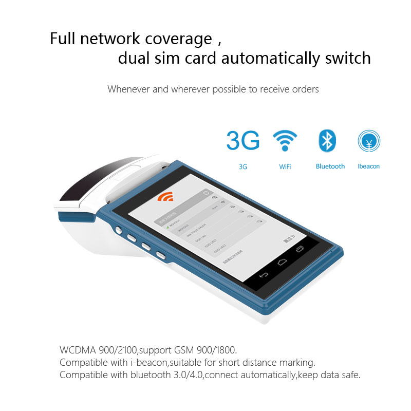 5.5 inch touch screen wireless mobile outdoor payment machine 1D/2D android 6.0 handheld POS terminal with thermal printer