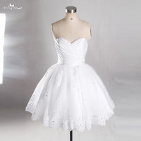 Short Wedding Dress 2015 Newest Sleeveless White Lace Appliqued Pleated Sweetheart Neckline Wedding Gowns RSW763