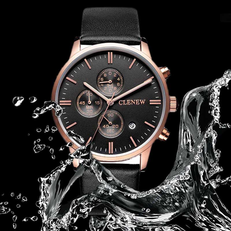 100M Waterproof Men's Watches Luxury Business Casual Rattrapante Stop Calendar PU Leather Quartz Wrist Watch SL цена