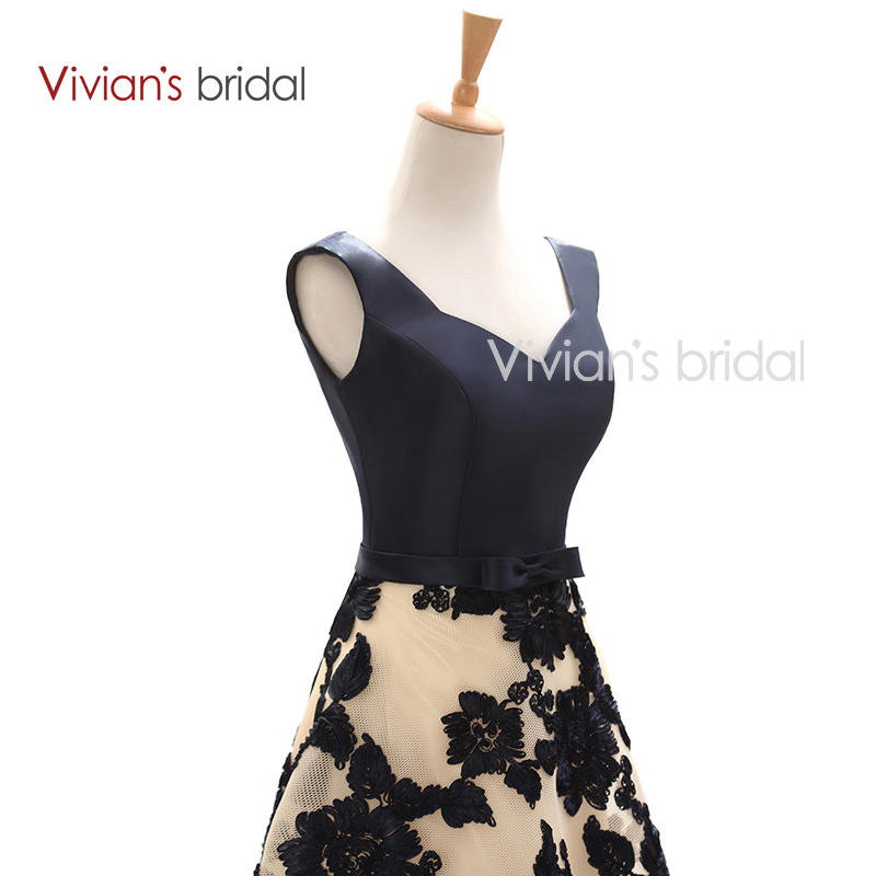 Pengantin Vivian Elegant A Line Petang Satin Satin Floral Cetak Lace - Gaun acara khas - Foto 4