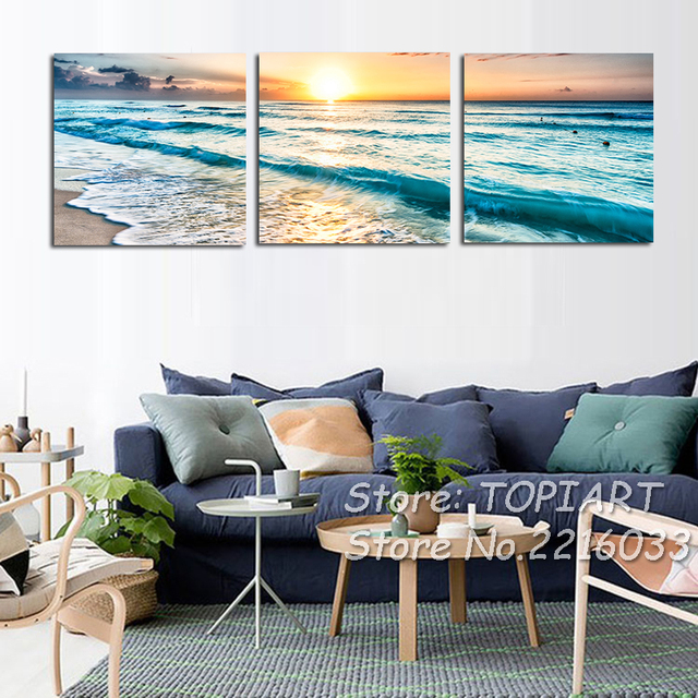 Triptych Wall Art Pictures 3 Panel Coast Waves Sea View Sunset Canvas  Prints Pictures For Home