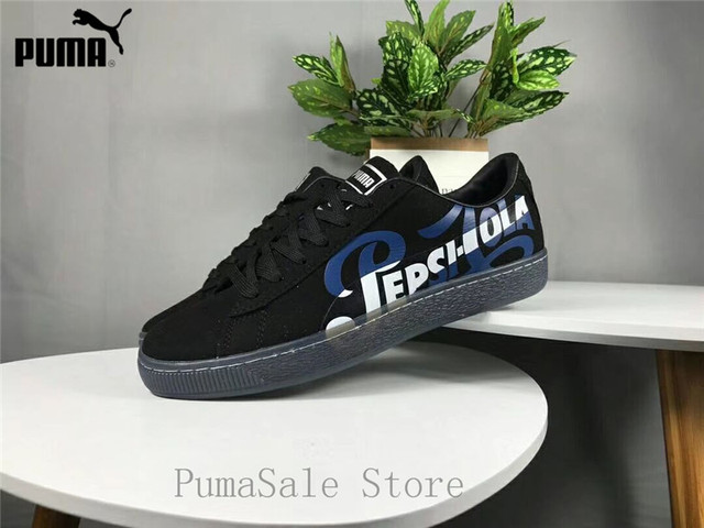 4070dddaf90 New Arrival Puma Suede Classic X Pepsi Mens Black Suede Lace Up Sneakers  366332-02-01 Badminton Shoes Size EUR39-44