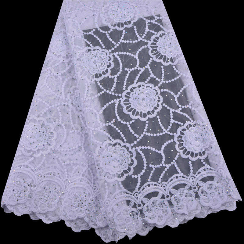 African white Milk lace fabric milk lace wedding 2019 Swiss high quality fabric lace A1363