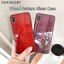 ROSINOP Wood Pattern Glass Case For iphone 6s 7 8 plus Anti-knock Covers For iphone x xs max xr Full body Camera Protection цены онлайн