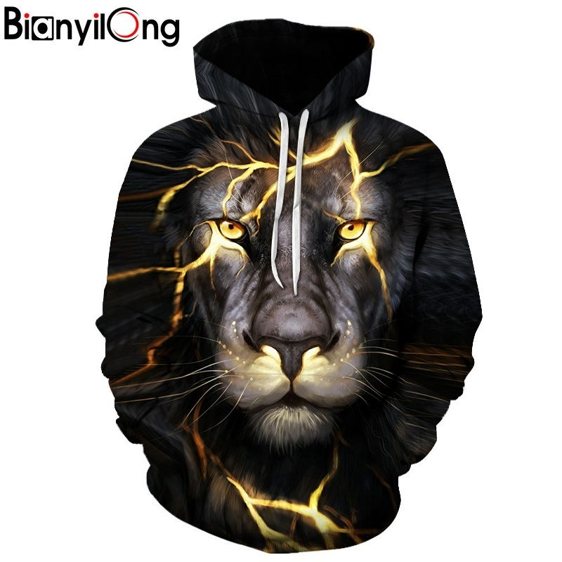 BIANYILONG New Fashion Men Women 3d Sweatshirts Print Paisley Lightning Lion Hoodies Autumn Winter Thin Hooded