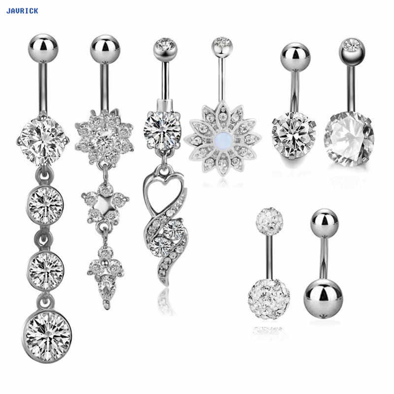 JAVRICK 8pcs Navel Pendant Piercing Zircon Body Jewelry Belly Floral Buttons Rings Charm