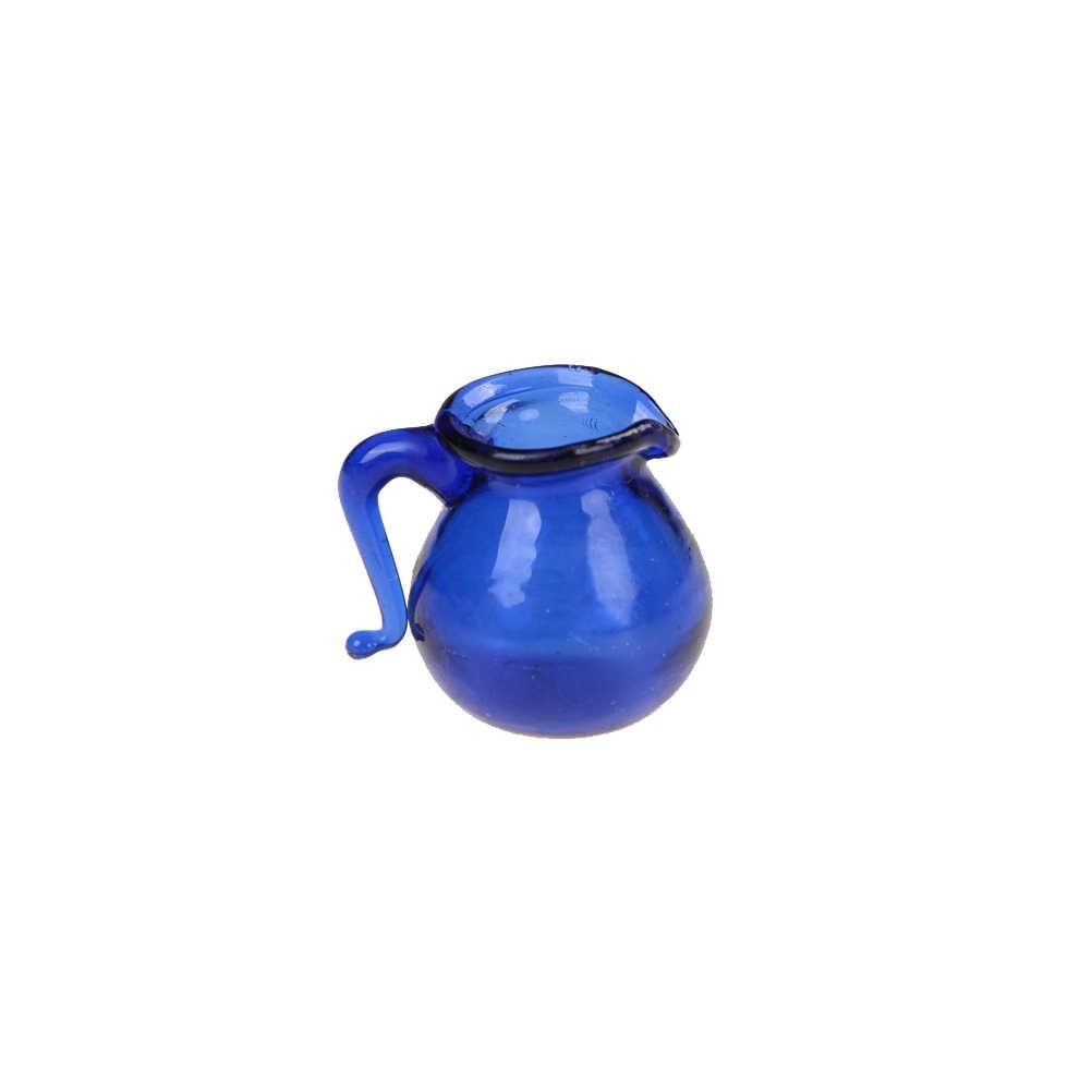 ใหม่ 1PC 1/12 Scale ครัว Jar Jar หม้อ Dollhouse Miniature ห้องรับประทานอาหารสีฟ้าเหยือกน้ำแก้ว Jar หม้อ