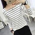 2017 Spring slit neckline stripe long-sleeve t-shirt female sexy slim all-match brief basic shirt