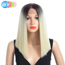 BY Straight Hair Cosplay Wig 99J/Sliver Gray/Blonde Brown Color 8 Colors Choice 16inches 150% Density Synthetic Hair Wigs(China)