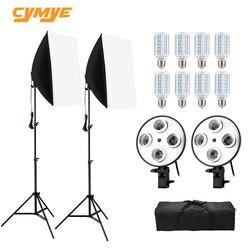 Cymye صور استوديو عدة EC01 8 LED 24 واط سوفت بوكس عدة للإضاءة التصوير الفوتوغرافي كاميرا وملحقات الصور