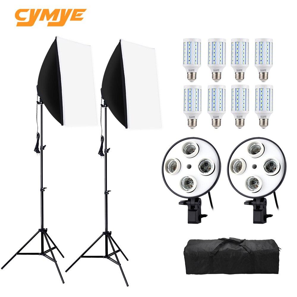 Cymye photo studio kit ec01 8 led 24w softbox kit para iluminação fotográfica câmera & foto acessórios