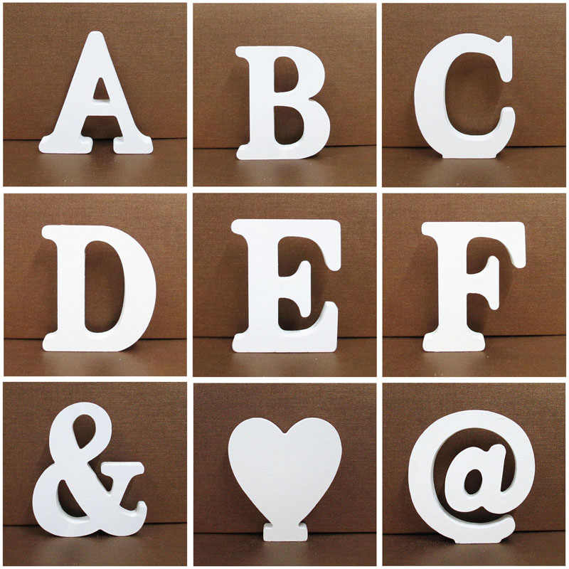 1pc 10X10CM Wooden Letters Wedding Party Decoration Home Art Decor Letras Ornaments Wood Letter Alphabet English Letters Diy