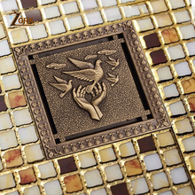 ZGRK Shower Drain 12X12cm Antique Solid Brass Floor Cover Strainer Bathroom Bath Accessories Art Carved Square Drains