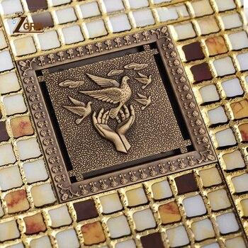 цена на ZGRK Shower Drain 12X12cm Antique Solid Brass Floor Drain Cover Strainer Bathroom Bath Accessories Art Carved Square Drains