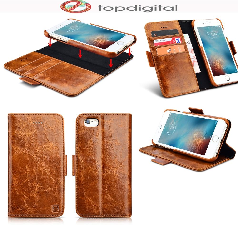 Цена за Icarer натуральная кожа бумажник чехол для iPhone 6 6S плюс многофункциональный 2 в 1 Флип Магнитный стенд Защитные Чехлы сотового телефона