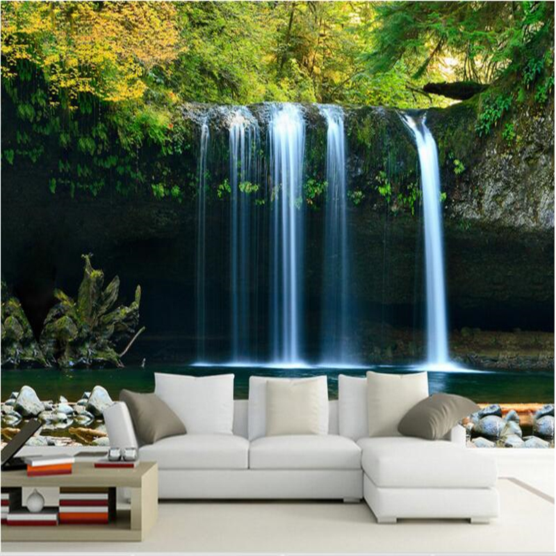 Beibehang Large Custom Wallpaper 3D Waterfalls Water Sofa Bedroom Television River TV Background Wall Home Decoration Painting