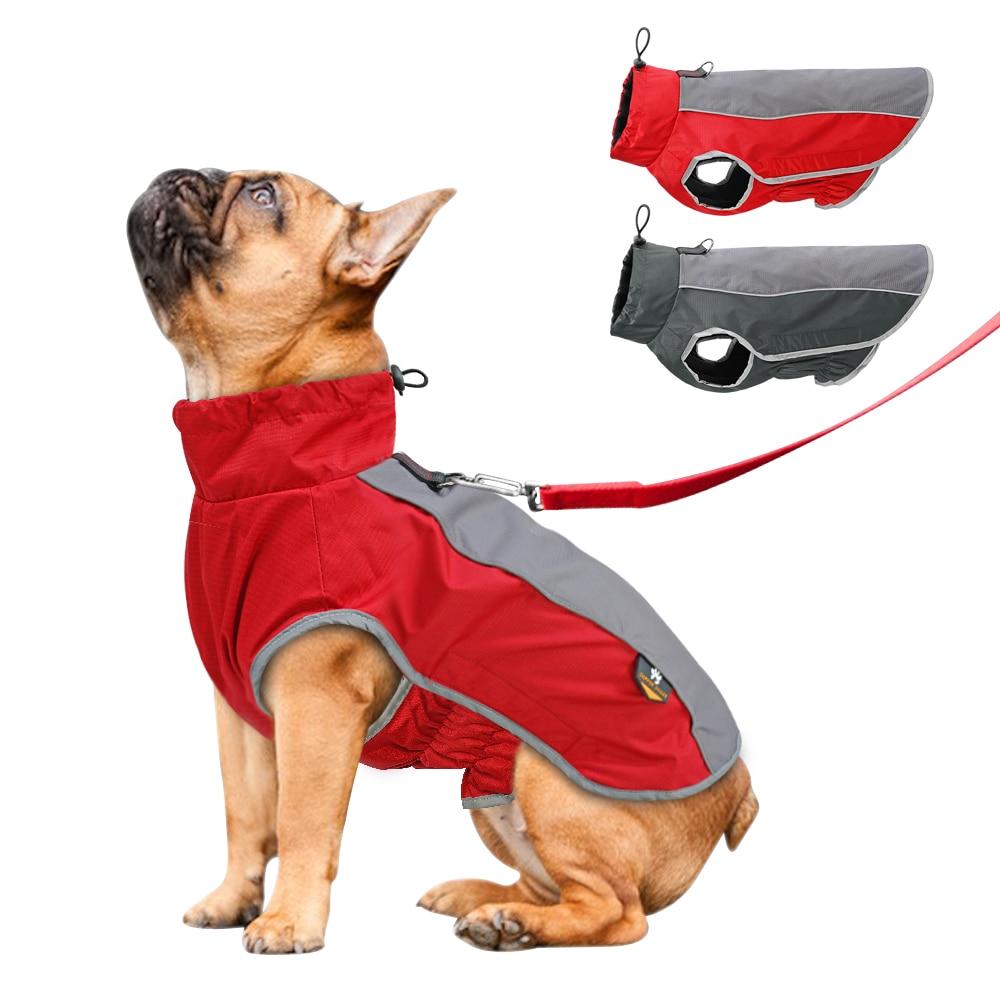Cão quente roupas pet jaqueta impermeável inverno roupas para animais de estimação para cães grandes reflexivo pet vestuário casaco para bulldog francês