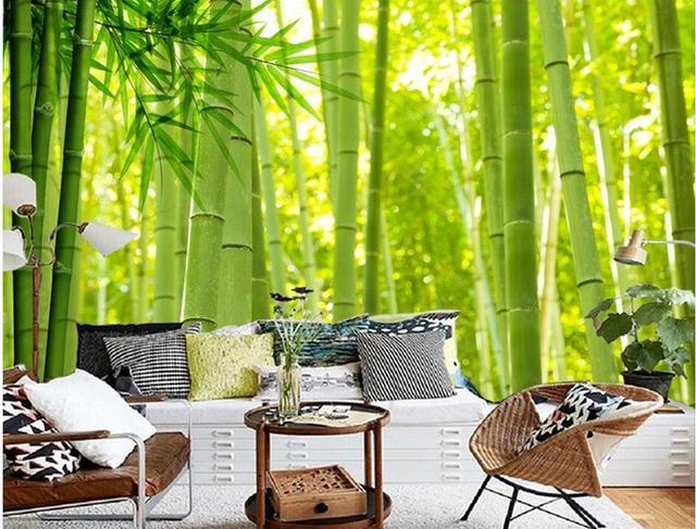 Custom Photo Wallpaper Bamboo Decorative Painting Mural Bathroom