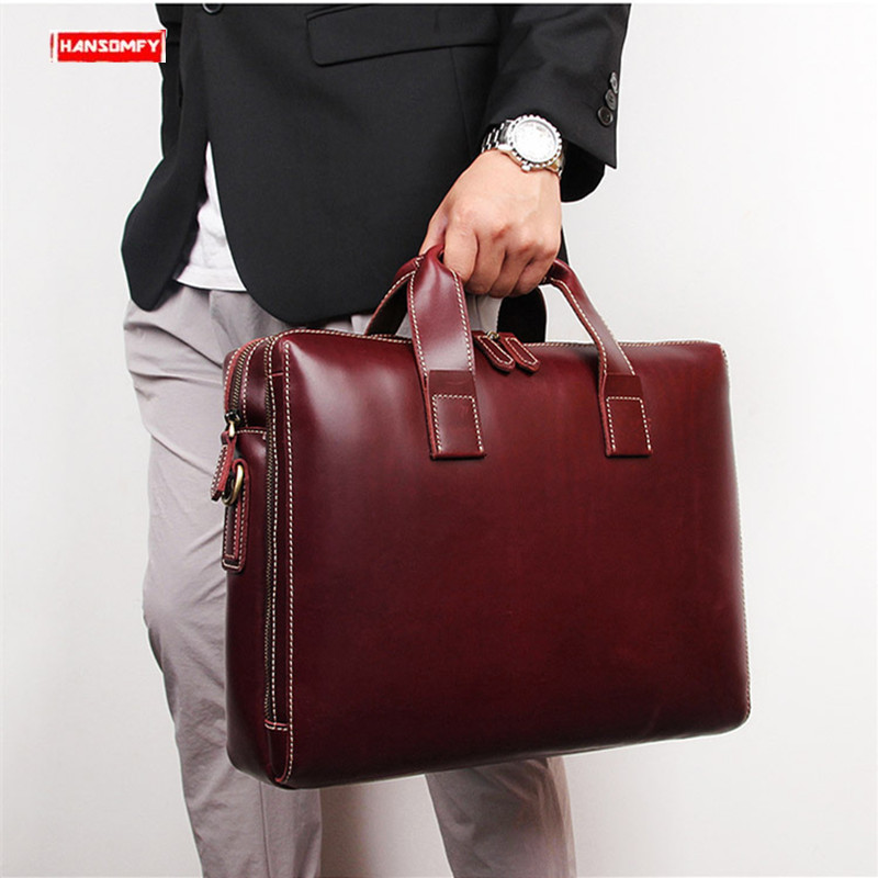 New Business Men Briefcase 15 Inch Computer Bag First Layer Leather Male Handbags Large Capacity Shoulder Bags Travel Briefcases