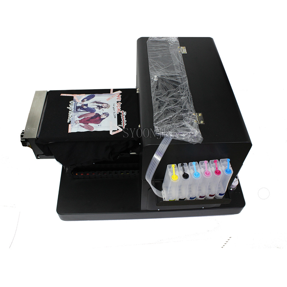 Multi-function A4 DTG Flatbed Printer Direct To Garment T-shirt Printing Machine For Dark Light TShirt Phone Case Plastic Cards