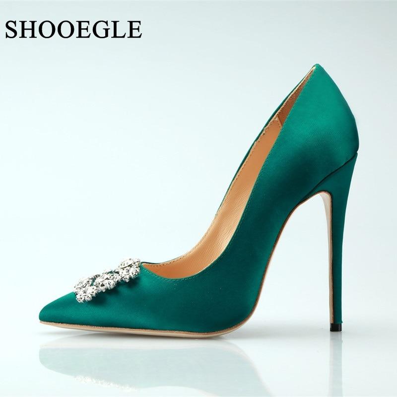Ayakk.'ten Kadın Pompaları'de Zapatos mujer 2019 kadın ayakkabı yeşil ipek yüksek topuklu taklidi kadın pompaları kare toka kristal ince topuklu düğün ayakkabı kadın'da  Grup 1