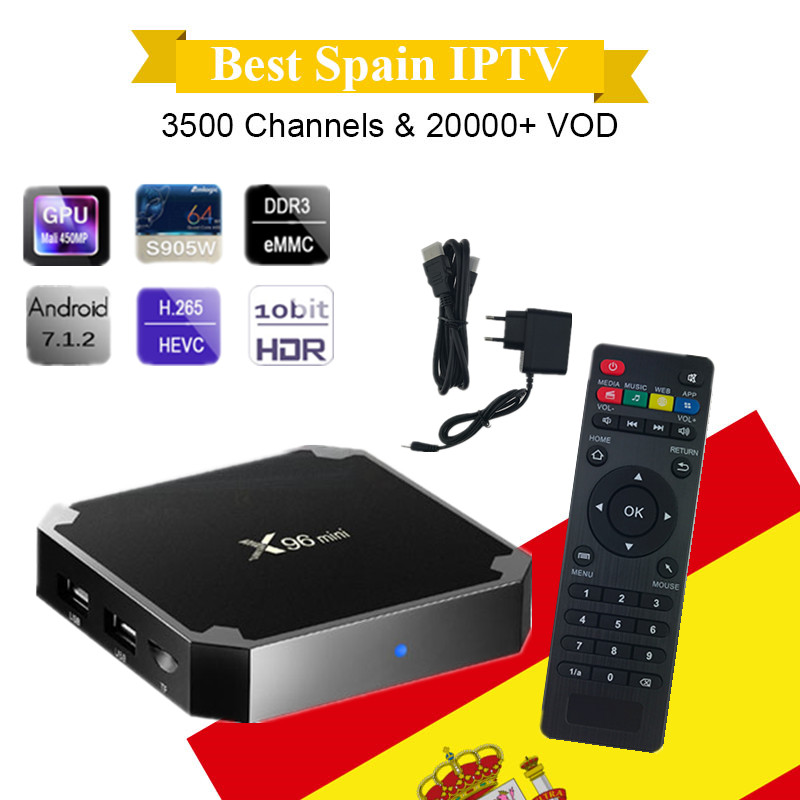 Spain IPTV X96mini Android TV Box With 1 Year IPTV Subscription Germany Italy Turkey Portugal Sweden Europe Mini Android box X96 spain north 1 500 000