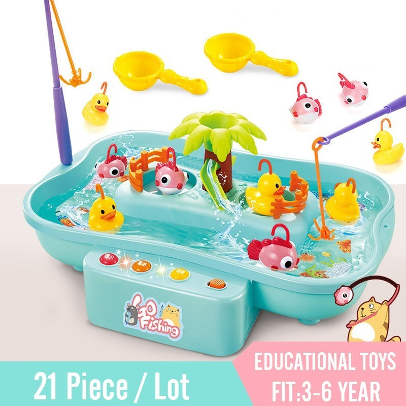 Children's Simulated Fishing Toys Electric Water Cycle With Music Lighting Storytelling Model Fishing Interactive Educational