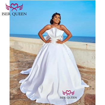 Big Bow Pure White Satin Wedding Dress 2020 New Crystal Beading Ruched Simple Plus Size Wedding Gown Pure White w0600
