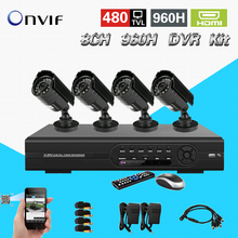 TEATE Hybrid dvr 8ch 960h Recording DVR with 480tvl camera system NVR Onvif CCTV DVR kit HDMI 1080P Output +Free Shipping CK-112