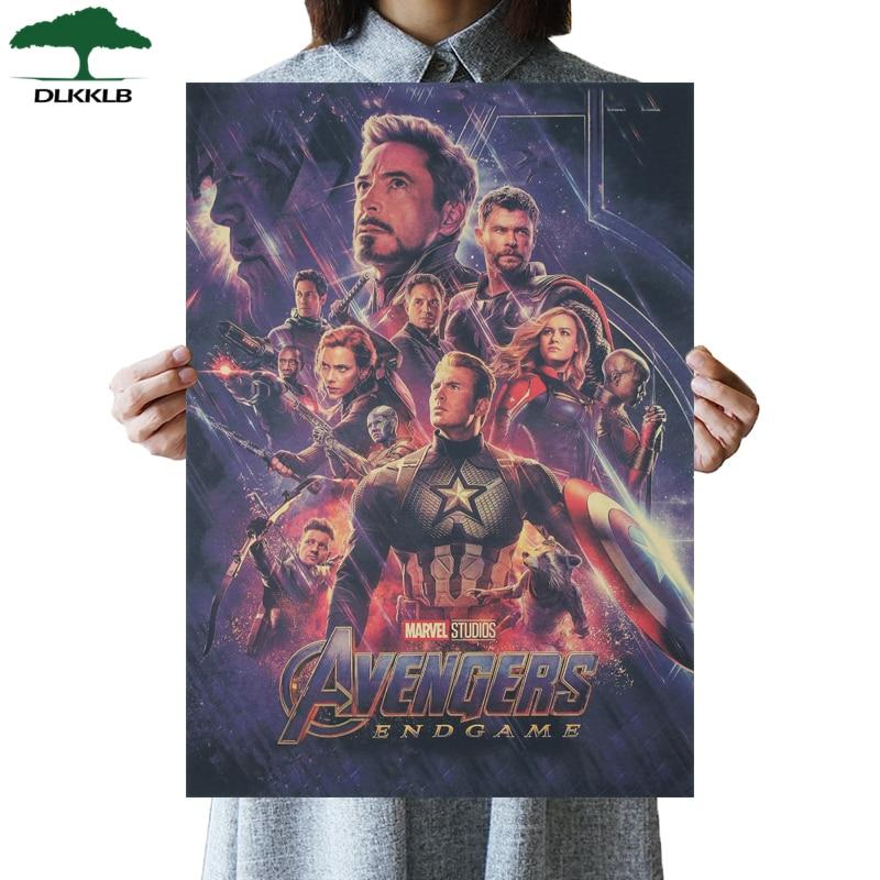 DLKKLB Marvel Vintage Avenger 3 Movie Poster Kraft Paper Poster Bar Cafe Home Decoration Painting Super Hero Wall Stickers