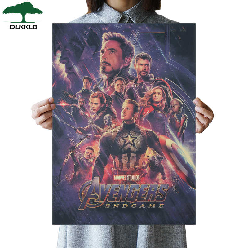 DLKKLB Marvel Vintage Avenger 3 Movie Poster Kraft Paper Poster Bar Cafe Home Decoration Painting Super Hero Wall Stickers
