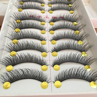 10Pairs Cotton Stalk Artificial Eyelashes False Eyelashes Natural Long Black Fake Eyelashes Bigeye Lashes Extension Makeup