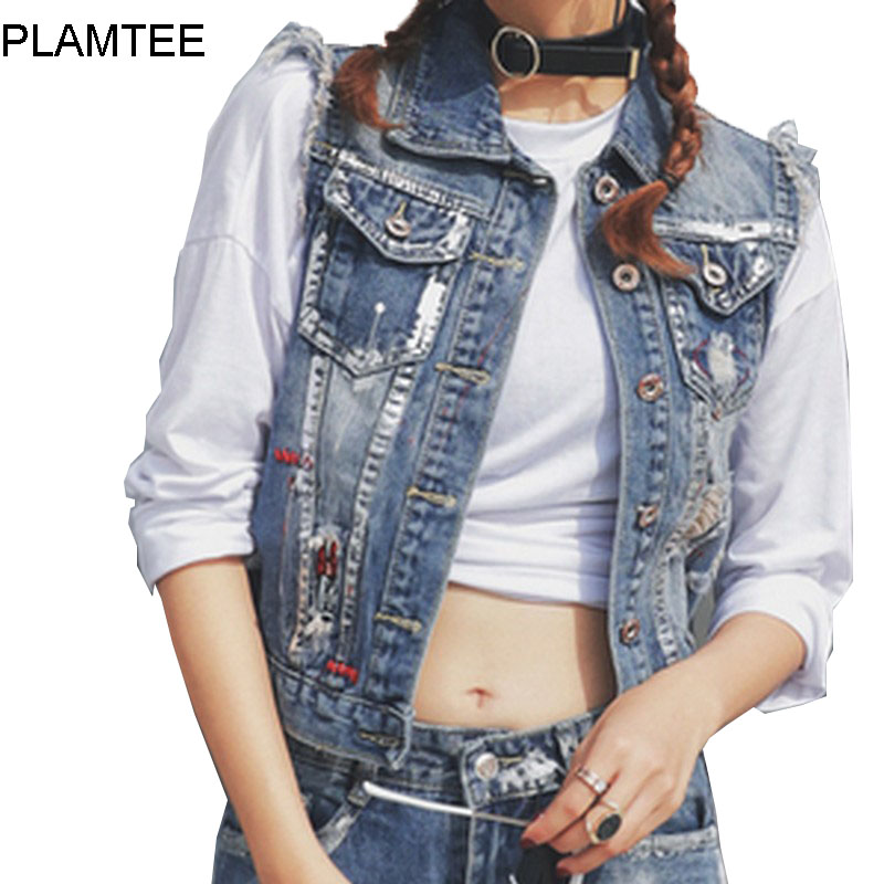 Online Buy Wholesale women short sleeveless denim jacket from ...