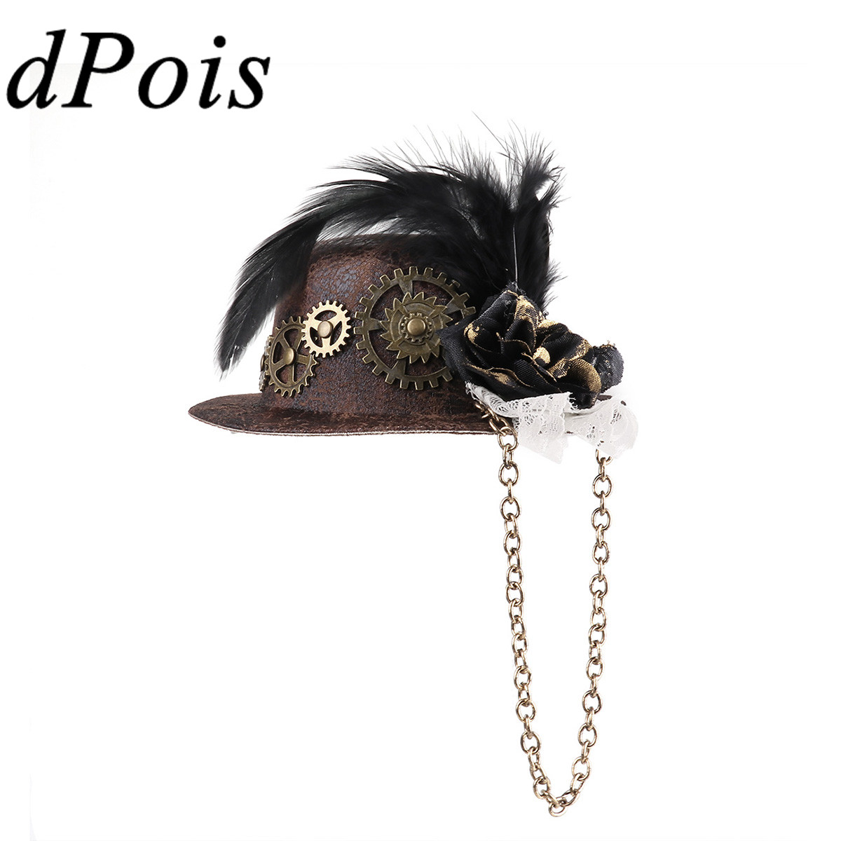 Women Steampunk Feather Gear Mini Top Hat Goth Fascinator Hair Clip Decor Party