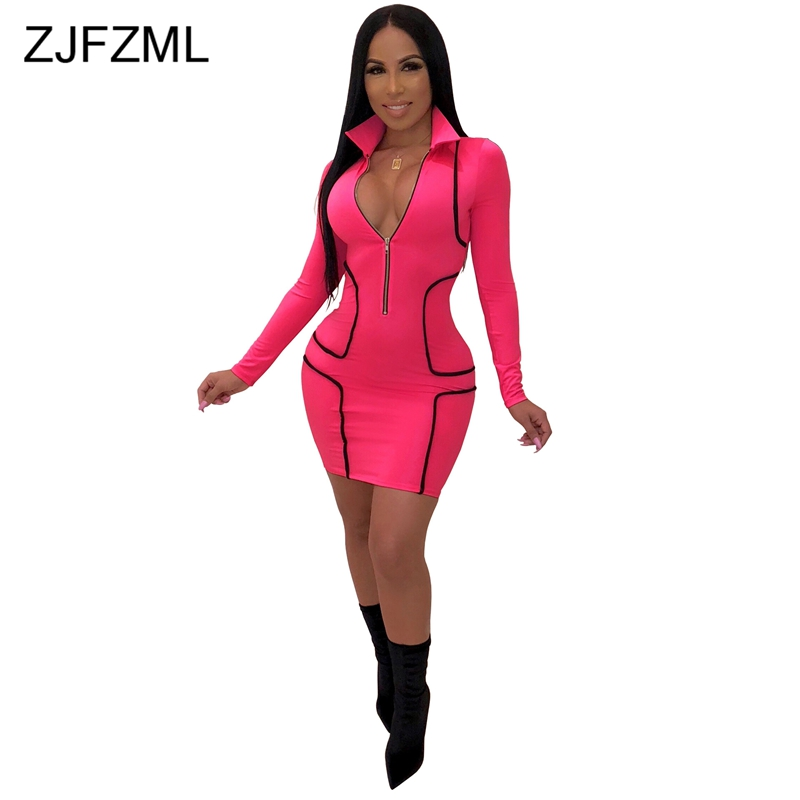 Detail Feedback Questions about Striped Patchwork Sexy Plus Size Dress Women  Turn Down Collar Full Sleeve Pencil Dress Streetwear Color Block Front  Zipper ... 74cef149096c