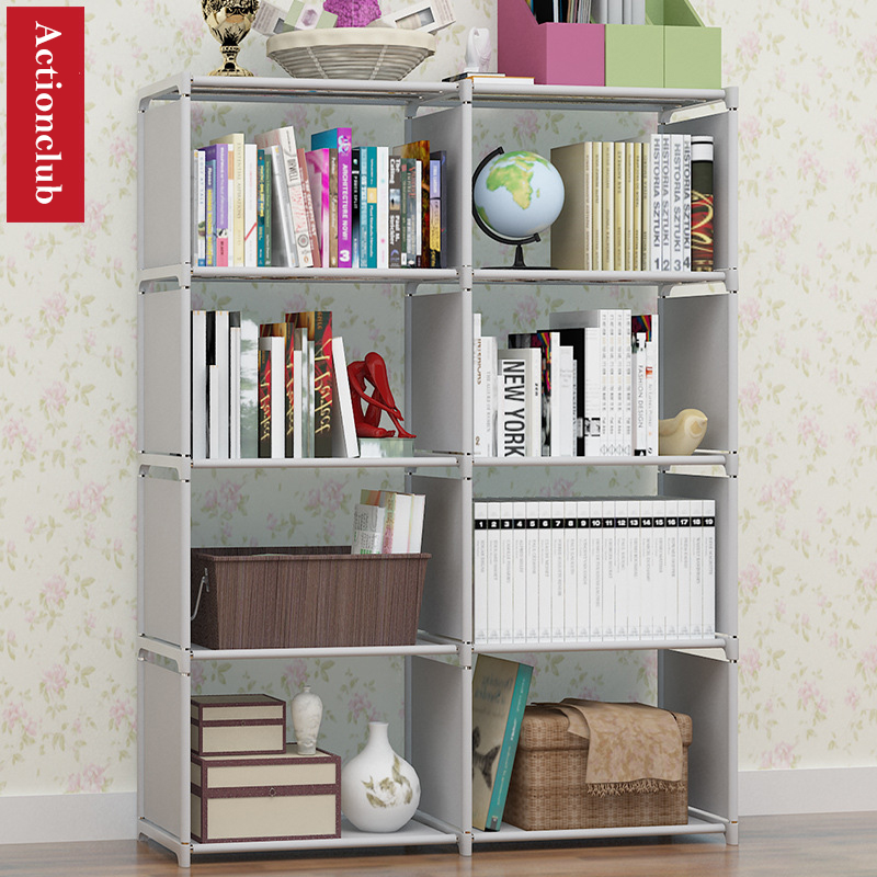 Actionclub Multi-function Bookshelf Student Simple Bookcase DIY Assembly Combination Reinforcement Double Rows Storage Cabinet Полка