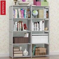 Actionclub Multi function Bookshelf Student Simple Bookcase DIY Assembly Combination Reinforcement Double Rows Storage Cabinet