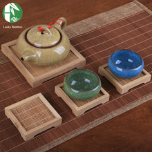 3pce/lot bamboo tea cup mat Tea set accessories table mat cup holder cheap pot pad heat insulation pad saucer free shipping