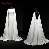 TaooZor Vintage Sheath Wedding Dresses 2018 Personality Cape Bridal Gowns Vestido De Novias Court Train Wedding Dress Plus Size
